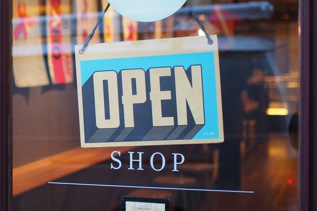 Picture of Shop window with open sign